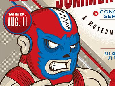 Masher Muldoon! wrestling illustration vector poster print mask