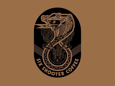 Six Shooter Coffee drink food animal apparel branding coffee snake