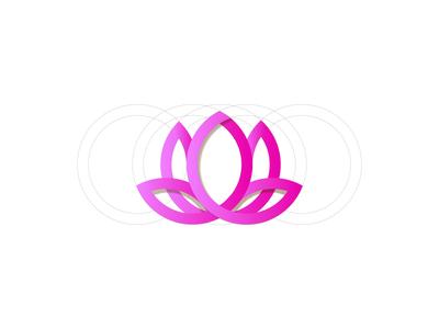 Lotus design icon minimal flat vector illustration logo