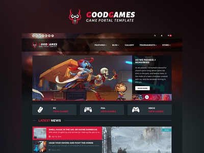 GoodGames - Store / Portal HTML Template gallery tournament blog news portal ecommerce store themeforest template gaming games game