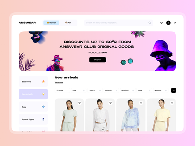 Online clothing store font navigation search filter ux motion graphics animation logo graphic design 3d interaction gradient clothes minimal fashion shop ecommerce store clean