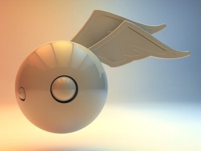 Head With Wings avatar in 3D - White headwithwings head with wings cinema4d avata tolgagorgun braininpain study-o
