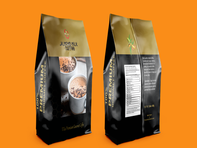 Coffee pouch bag design. product packaging illustration design print milk coffee almond illustrator coffee bag package
