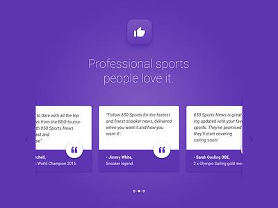 Testimonials landing page testimonials material design purple sorts icon gradient