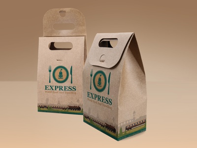 """Craft food package for project   restaurant """"Express"""" branding graphic design beautiful graphics draft design logo railroad food restaurant packaging logo"""