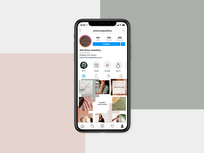 Social Media: Arte Nova instagram jewellery social media branding design