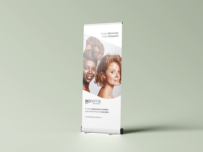 Roll Up Banner Biopeptix beauty roll up banner print skin care graphic design