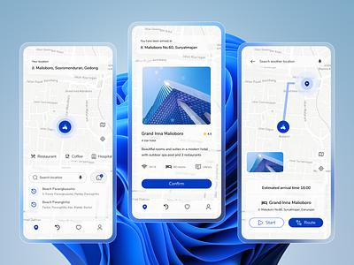 Maps App - Waze Redesign destination maps home colorful ui mobile app