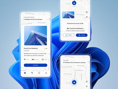 Maps App - Waze Redesign - Part 2 colorfull clean waze destination location detail maps ui mobile app
