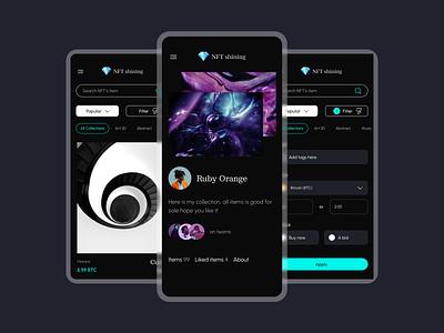NFT Marketplace Mobile - Profile & Explore Page crypto bitcoin explore search detail profile marketplace nft ui mobile app