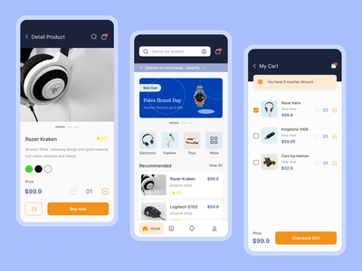 Amazon Redesign - E Commerce pricing checkout shop amazon onlineshop ecommerce design home colorful ui mobile app