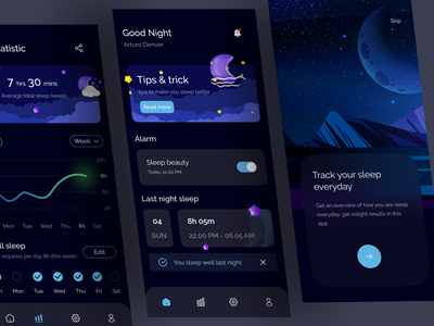 Sleep Tracker App mood healthy darktheme chart insight sleeptracker sleep ui mobile app