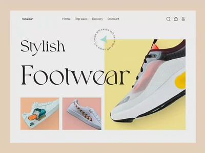 Foowear E-Commerce Landing Page detail page shopify shoes prototyping colorful ecommerce landingpage website
