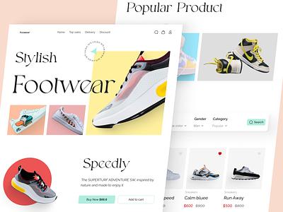 Foowear E-Commerce Landing Page - Part 2 shopify onlineshop ecommerce colorful detailpage home webdesign website ui