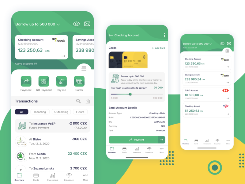 Mobile Bank iOS App investment details smart banking bank savings green overview fintech credit history payment transactions account cards finance dashboard design mobile app