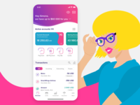 Bank Dashboard Mobile App technology accounts money card history transaction bank payment tech iphone illustration graph dashboard finance listing design mobile