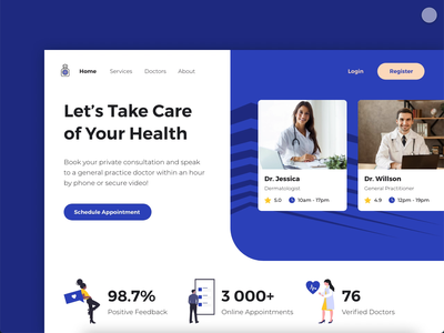Healthcare Website doctor product design web design animation recent popular marketing hospital online clinic web adobe xd landing listing medical appointments doctors website healthcare health