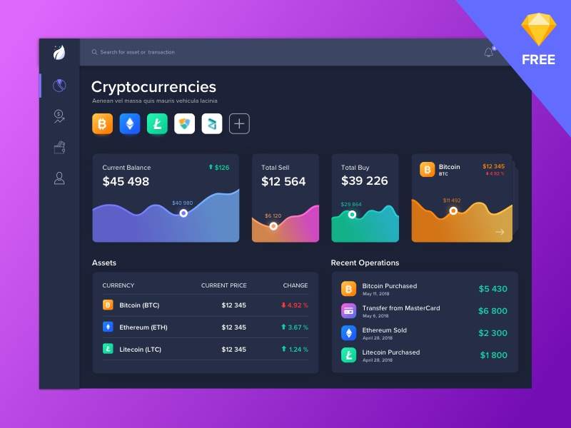 Crypto Dashboard Web | Dark graph currency bitcoin freebie sketch free analytic finance dashboard blockchain crypto