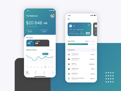 Bank Mobile App wallet ios fintech mobile account statistics transaction finance payment card bank app