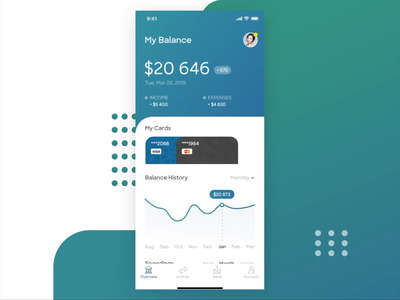 Bank Account Mobile bank animation graph statistics payment card balance screen account app mobile finance