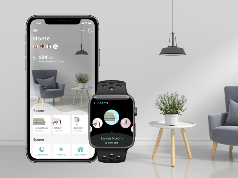 Smart Home App iphone x control design mobile ios future room furniture devices internet of things management apple watch home smart iot app