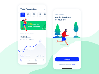 Health Activity App apple ios walking signup goals health care lifestyle ui data statistic activity mobile steps running graph analytics tracking app fitness health