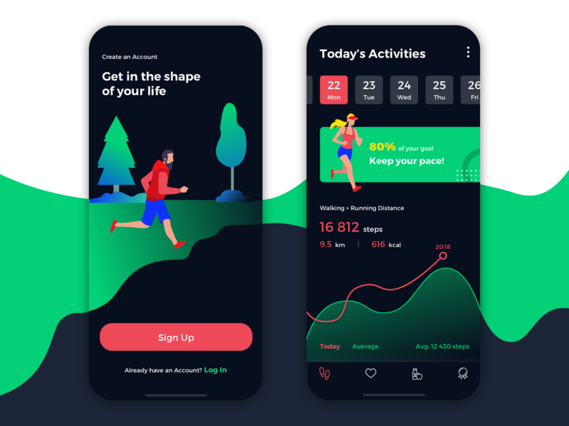 Activity Tracking Mobile App feed progress graph iphone active goal fitness signup dark mobile statistic analytic dashboard lifestyle steps health running app tracking activity