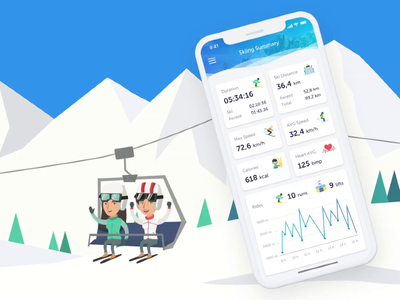 Ski Training App sketch care health numbers record training statistics mobile dashboard fitness cabin snowboard mountain winter sport app tracking analytics skiing ski