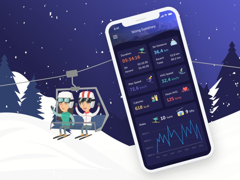 Skiing Mobile App Dark mountains tracking fitness training analytic statistic mode dark night winter sport skiing ski travel dashboard graph ios design app mobile