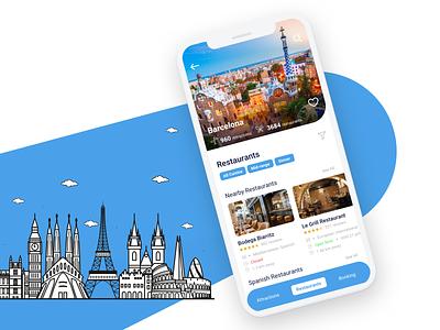 TripAdvisor Mobile App Concept hotel social world location app design discover attractions filter mobile traveling recommendation barcelona europe listing food restaurant travel trip tripadvisor app
