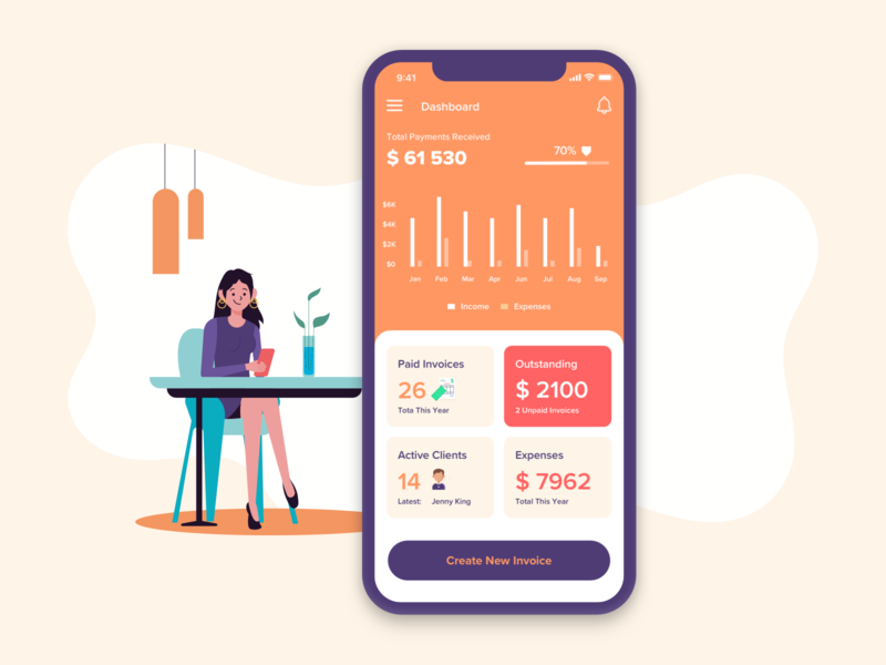 Invoicing Management App payment accounting client tracking freshbooks business app billing finance graph data software tool project management statistic invoicing invoice mobile dashboard