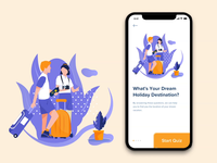 Travel Quiz App listing design ui  ux social progress selection ios flat travel holiday app interaction questionnaire research question quiz mobile
