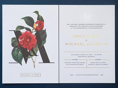 M&A Wedding Invites and RSVP invitation foil stamp flower letterpress print rsvp wedding
