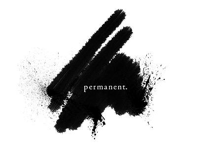 Permanent. bleed black ink smudge identity logo mark hand-made marker splatter permanent sharpie