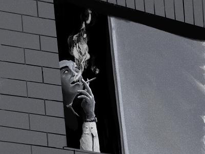 Window Smoker procreate man window some sketch illustration