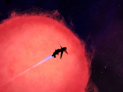Red Dwarf fly spaceship flare ship procreate illustration sun space