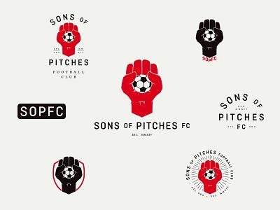 SOPFC Logo System pitch atlanta ball gonzo fist club football soccer branding badge icon brand mark identity logo