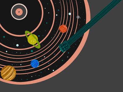 unimusic idraw ipad illustration turntabble space music
