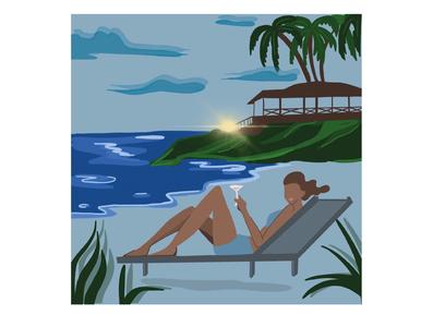 Beach life cheers procreate art procreateapp procreate apple pencil ipad design illustration palm trees clouds enjoying relaxing lifestyle sunset sun sea beach