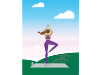 Yoga Girl inner peace mind asana spiritual morningslikethis meditation selflove flex relaxing nature clouds sky girl yoga vector illustrator flat design design illustration ai