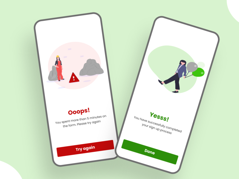 Flash message screens for mobile app ux ui app iphone android design