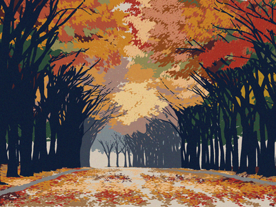 Autumn in Seoul landscape autumn leaves landscape design editorial illustration adventure vector illustration nature illustration illustration south korea seoul