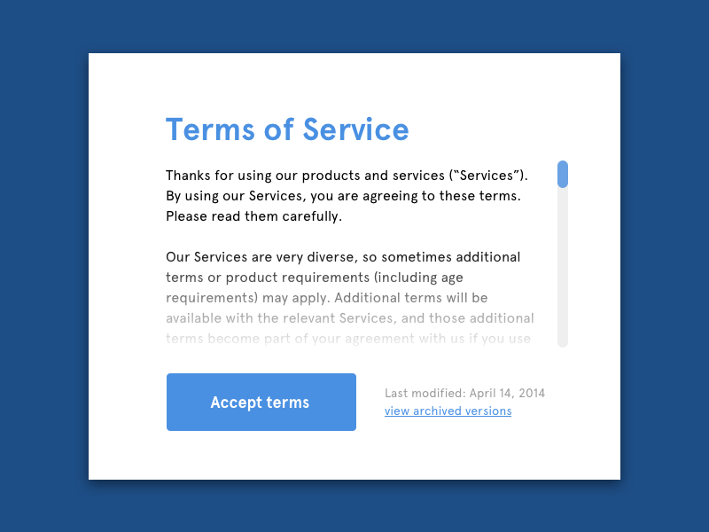 Dailyui089 Terms Of Service By Jan Paul Koudstaal Dribbble Dribbble