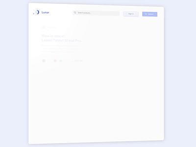 Lunar eCommerce Shop render clean blue 2d rotato figma principle shop animation mobile design app ui