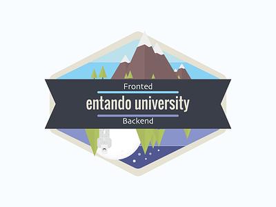 University badge courses icons development web design training university cover fronted backend flat