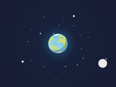 Space sapce world moon stars flag flat design sky planet