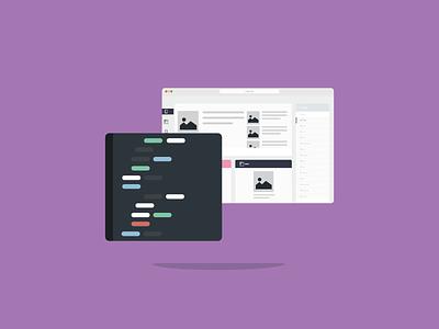 Code code develop device spring flat illustration colors ux ui design platform icon