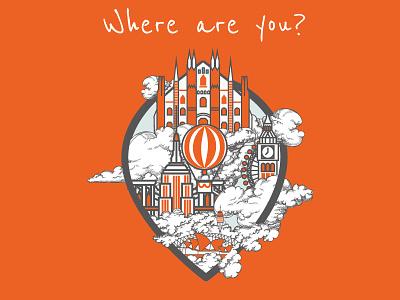 Where are you? icon vector dribbble balloon design psd flat sidney city milan london illustration
