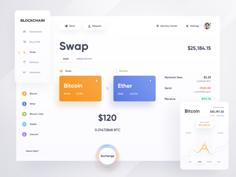 Blockchain — Swap ☀️ Light Mode ☀️ bitcoin services light mode webdesign ux ui swap statistics webinterface inspiration exchanger ether dashboard daily ui crypto wallet crypto exchange cryptocurrency clean charts cash bitcoin