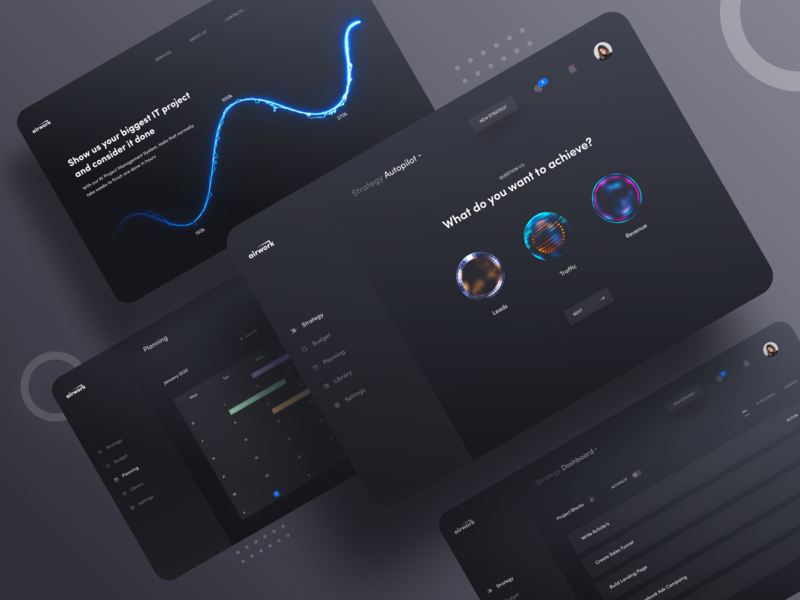 Airwork exploration statistics web application ux ui business night mode typogaphy product design dark interface element interface shadow chart cards landing page website app analytics dashboard